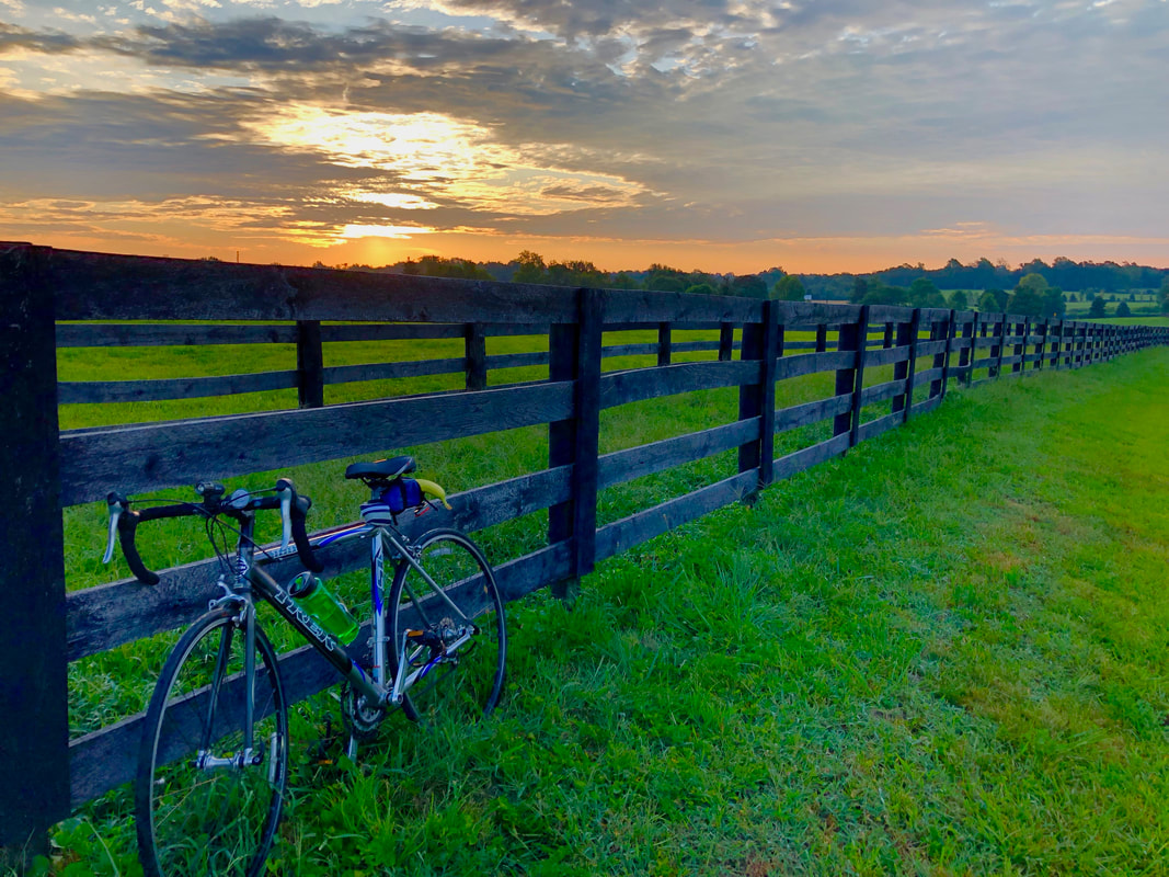 Photo of her Trek bike at sunrise over Kentucky Horse Park, Iron Works Pike, Lexington, KY by Jenny Leigh Hodgins.