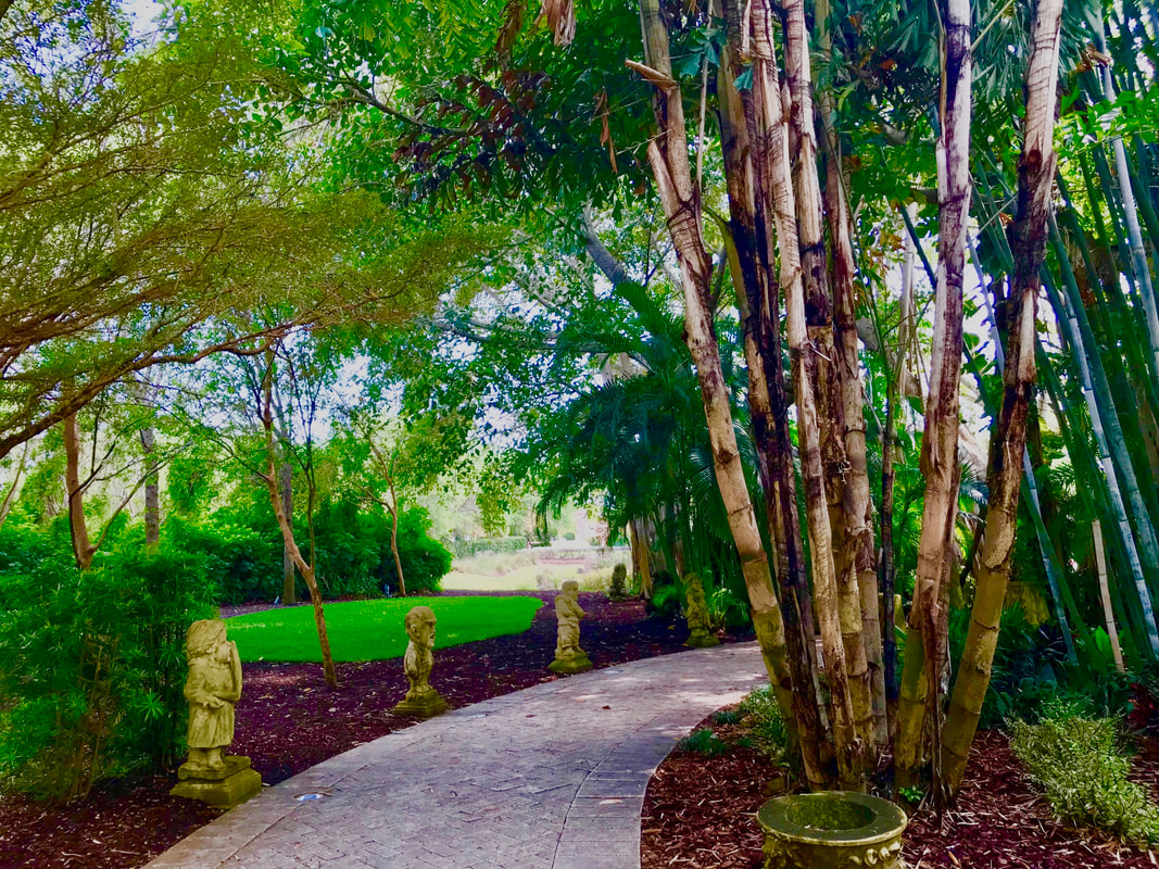 Shaded bamboo garden pathway at Ringling Gardens, Sarasota, Florida. Photo by Jenny Leigh Hodgins
