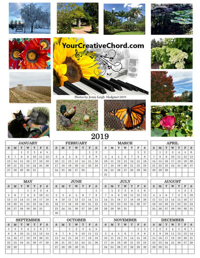 YourCreativeChord's 2019 Spiritual Wellness nature photo wall calendar. Photos by Jenny Leigh Hodgins
