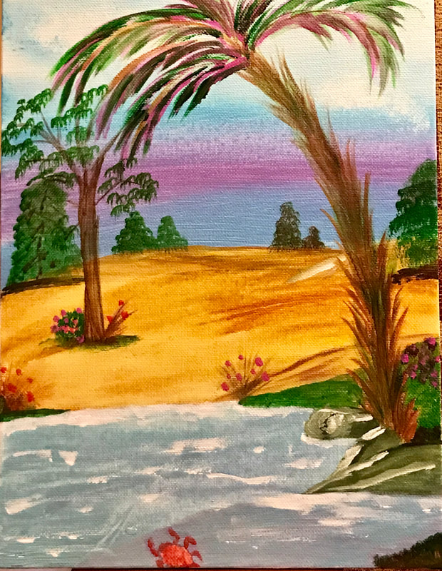 Tropical trees on beach painting by Minva G Hodgins