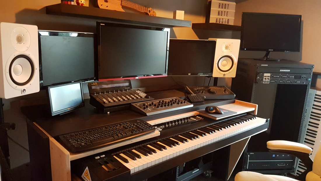 Electronic Music Studio including keyboards, computers, speakers, mixers, and software. Film Scoring & Orchestration Applied Facebook Group: Composer Supportive Community