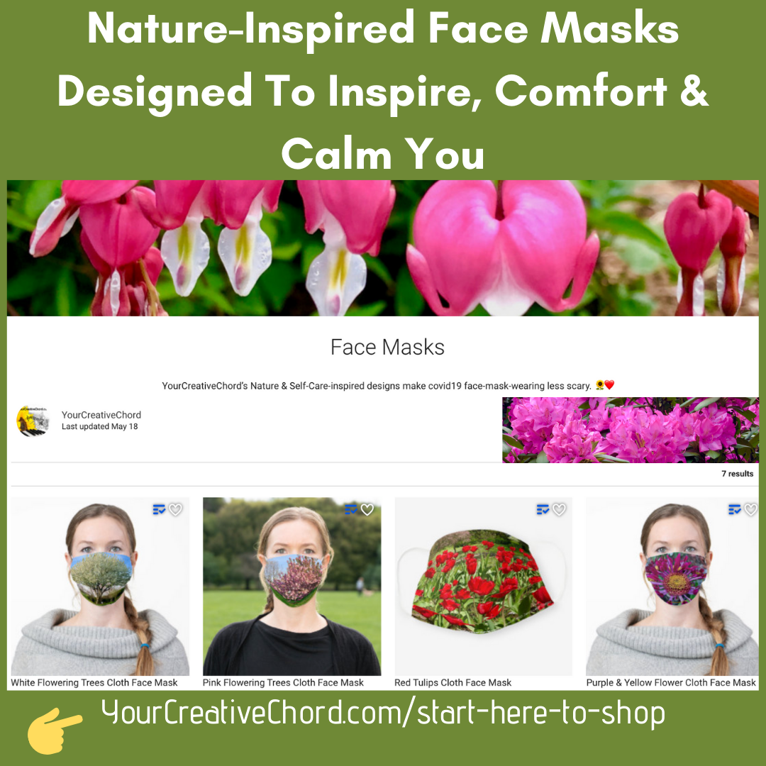 nature-inspired face mask designs to comfort and calm you, designs by Jenny Leigh Hodgins, YourCreativeChord.com, zazzle designer