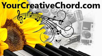 YourCreativeChord.com logo sunflower keyboard microphone writing painting creating