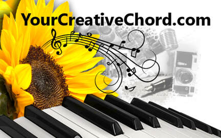 yourcreativechord.com logo with yellow sunflower, piano keyboard, microphone, musical treble staff with notes, artist palette, writer pen, testimonials for yourcreativechord.com and Jenny Leigh Hodgins