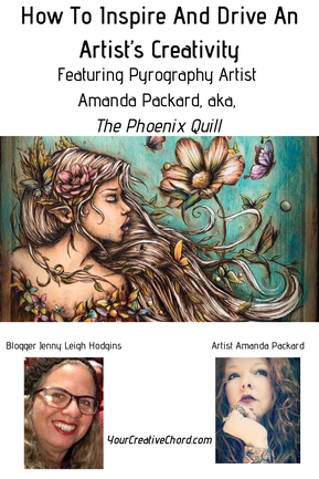feminine fantastical flowery woman featured as pyrography art by The Phoenix Quill, aka, Amanda Packard. Blogger Jenny Leigh Hodgins face in left photo, Redheaded artist, Amanda Packard at right
