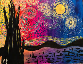 Exploration of Van Gogh's Starry Night, painting by Jenny Leigh Hodgins