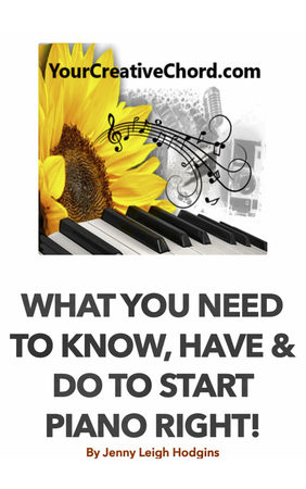 what you need to know, have & do to start piano right! ebook ON SALE NOW. book cover with yourcreativechord.com logo. sunflower, piano keyboard, music staff, artist palette, camera, microphone, laptop, writer pen