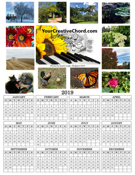 When you JOIN YourCreativeChord's mailing list, you will also be entered to WIN a copy of my beautiful 2019 Spiritual Wellness nature photo wall calendar! ​ Photos by Jenny Leigh Hodgins