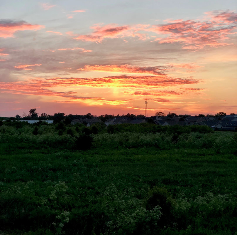 Kentucky summer sunset, with grassy field in front, and orange, yellow, pink, sky with fluffy pink and grey clouds surrounding sunset rays, photo by Jenny Leigh Hodgins